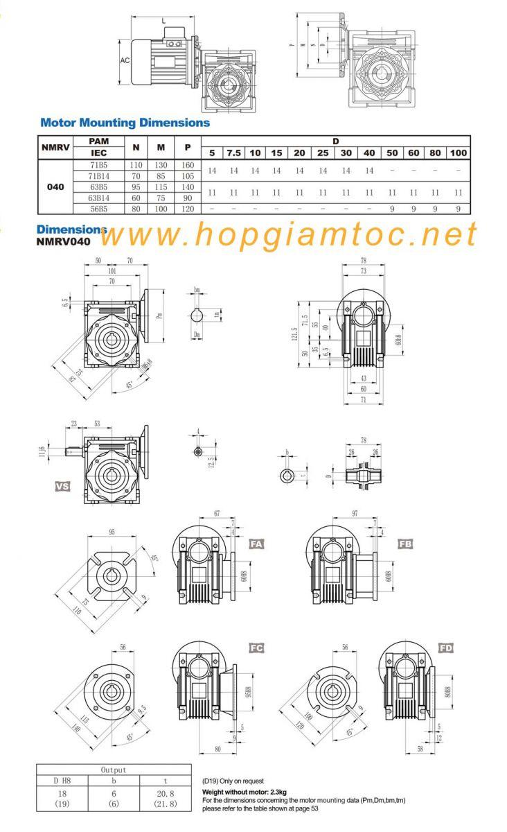 Catalogue hộp giảm tốc nmrv 040