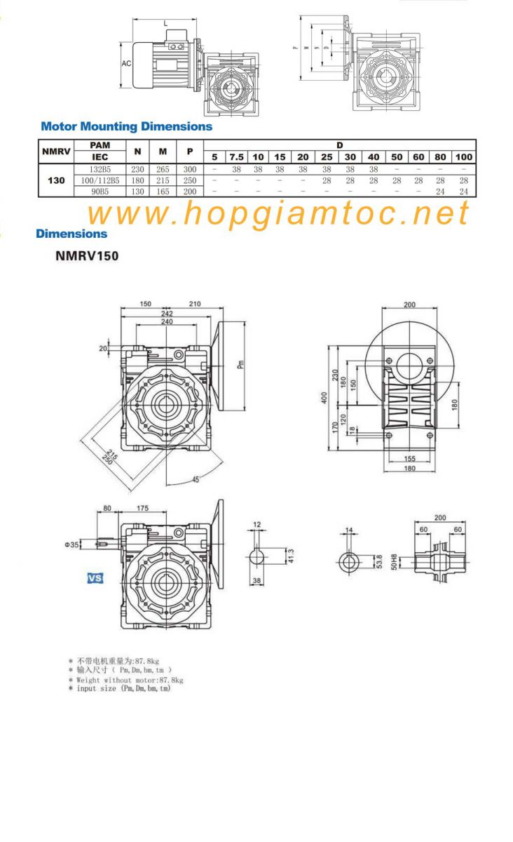 catalogue hộp giảm tốc nmrv size 150