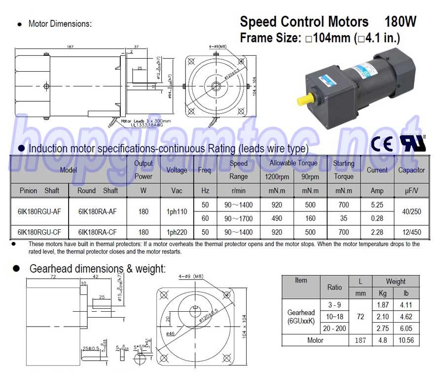 Speed control motor 180W 6IK180RGU-CF