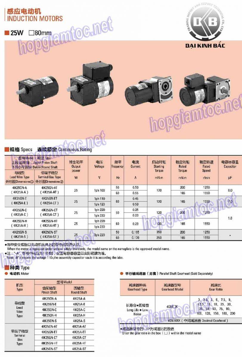 Model: 4IK25RGN-C  Công suất: 25W