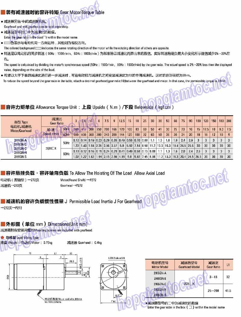 MOTOơ giảm tốc mini 6w, với các model: 2IK6GN-C, 2IK6GN-E, 2IK6GN-H, 2IK6GN-S, 2IK6GN-A, 2IK6A-C, 2IK6A-A, 2IK6A-E, 2IK6A-S, 2IK6A-H