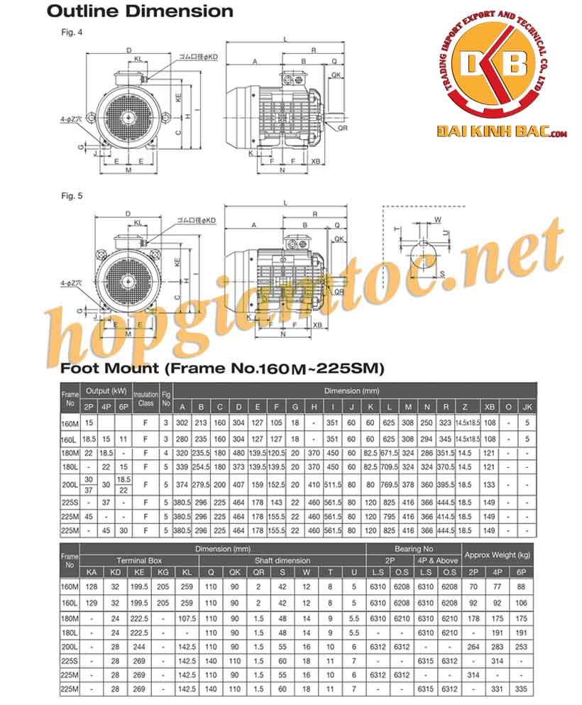 Catalog motor điện Toshiba chân đế 18.5kw