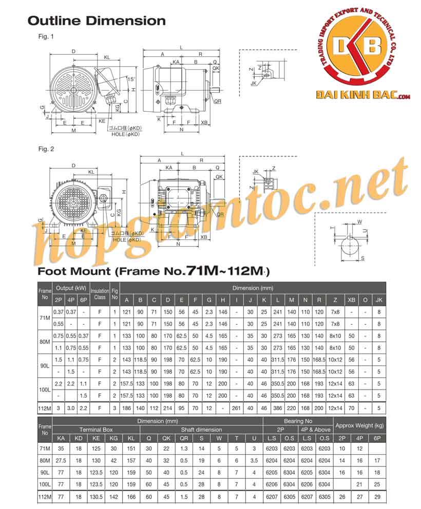 Catalog motor điện chân đế Toshiba 2.2kw