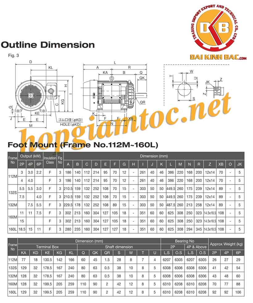 Catalogue motor điện Toshiba chân đế 3kw