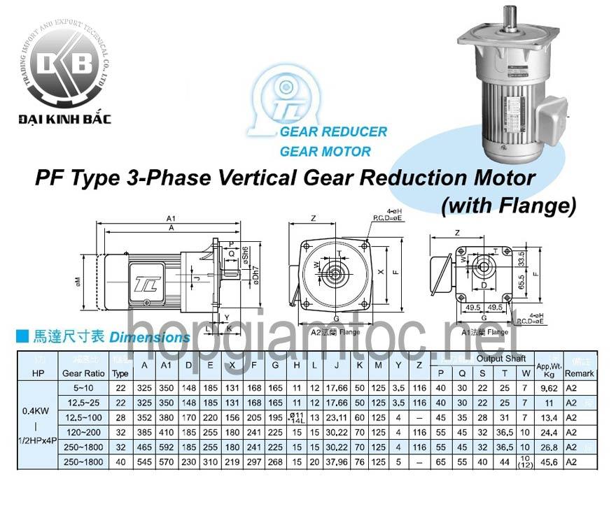  Catalogue motor tunglee mat bich 0.4kw  