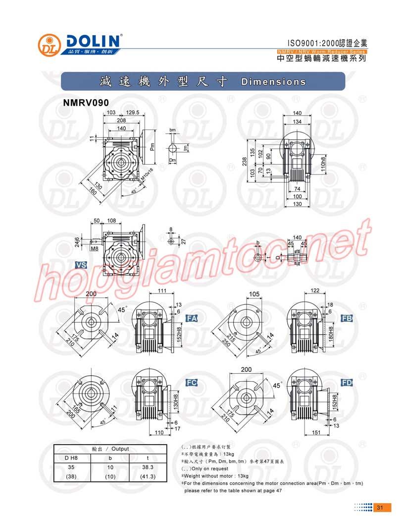 Thong-so-worm-reducer-nmrv-90-100B5-Dai-Kinh-Bac